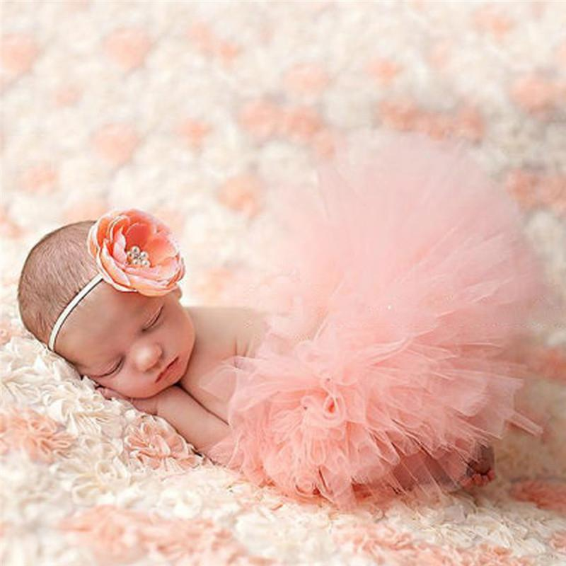 2-piece Solid Tutu Dress Baby Photographic Clothing & Headband - PrettyKid