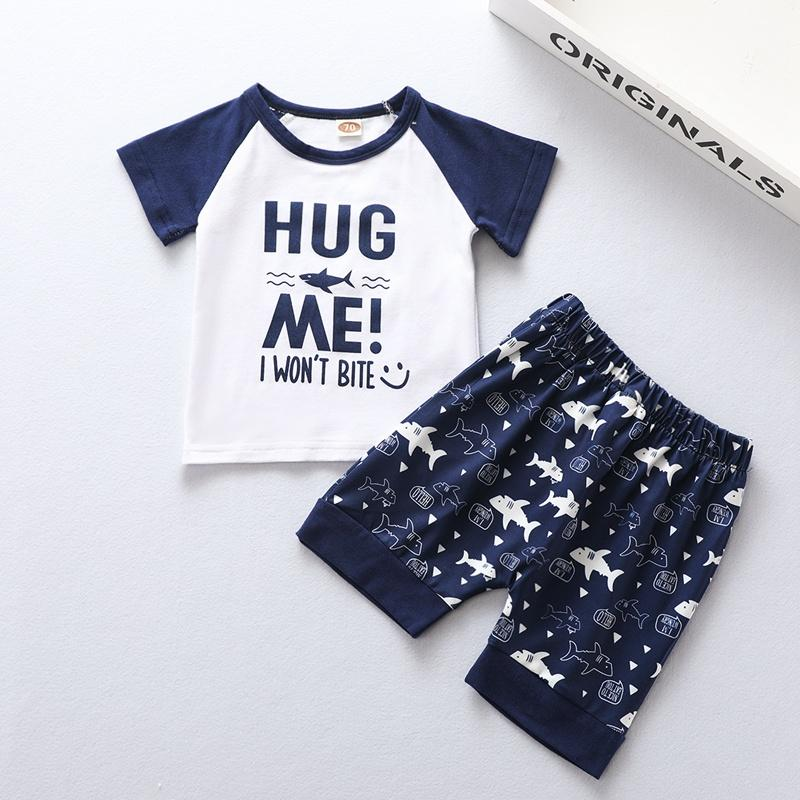 Baby Boy Color-block Letter Pattern T-Shirt & Shark Pattern Shorts Wholesale Children's Clothing - PrettyKid