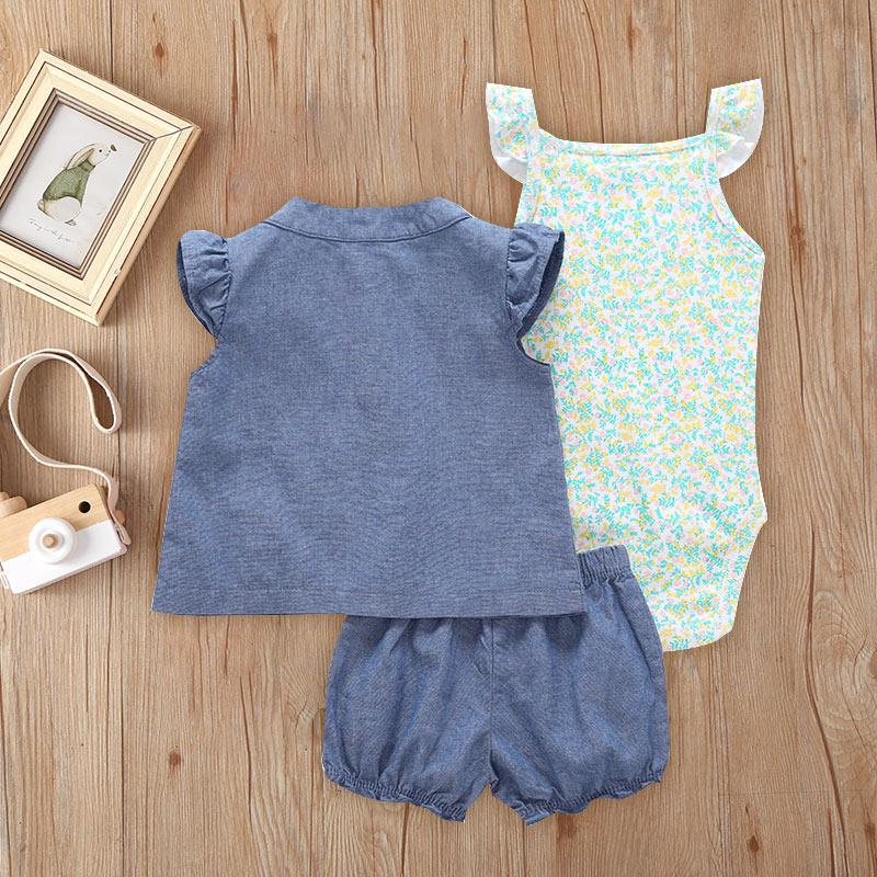 3-piece T-shirt & Shorts & Floral Romper for Baby Girl Wholesale Children's Clothing