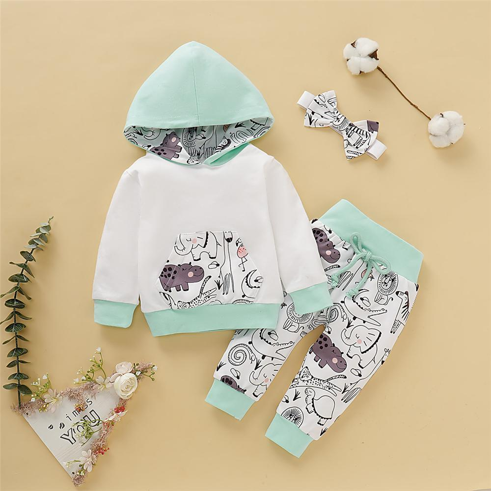 Baby Girls 3-Piece Cartoon Hooded Tracksuit Baby Clothes Wholesale Bulk - PrettyKid