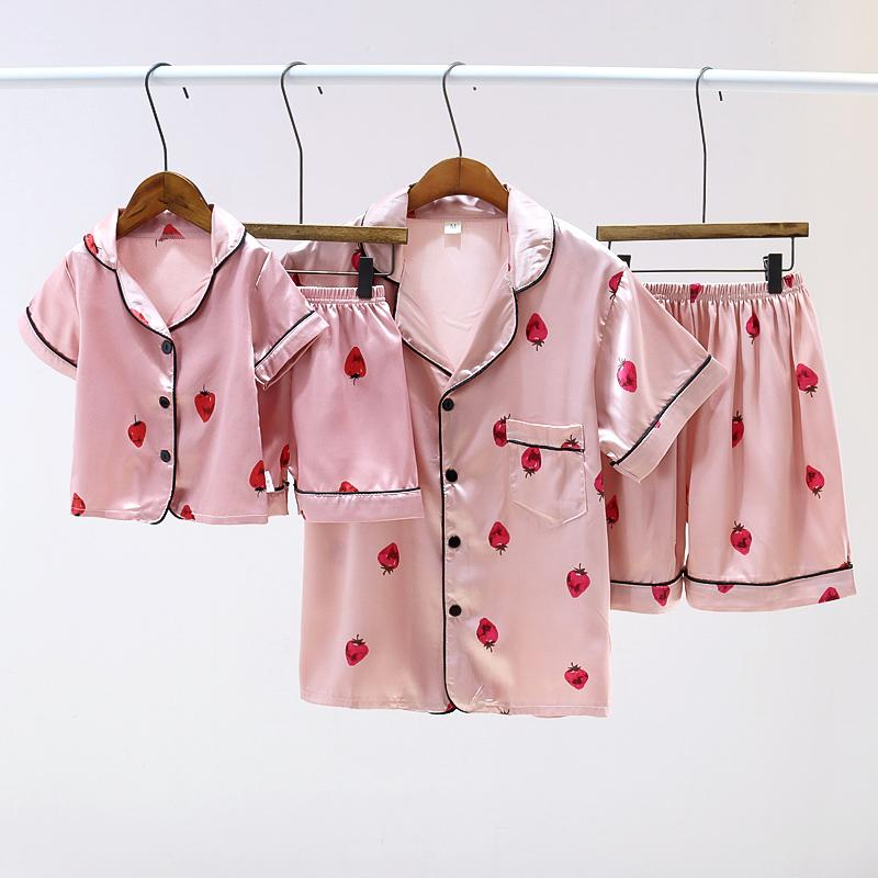 Baby Girl Winter Dresses Satin Fabrics Silk-like Floral Printed Pajamas Mother Baby Clothes