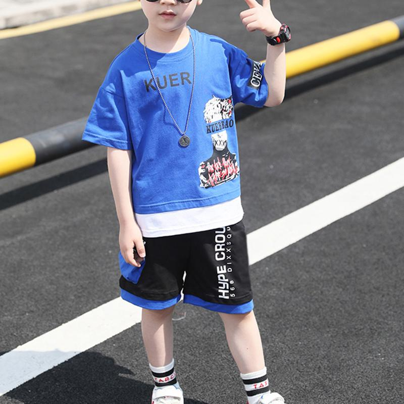 Kid Boy Letter Cartoon Character Pattern Top & Splice Color Shorts