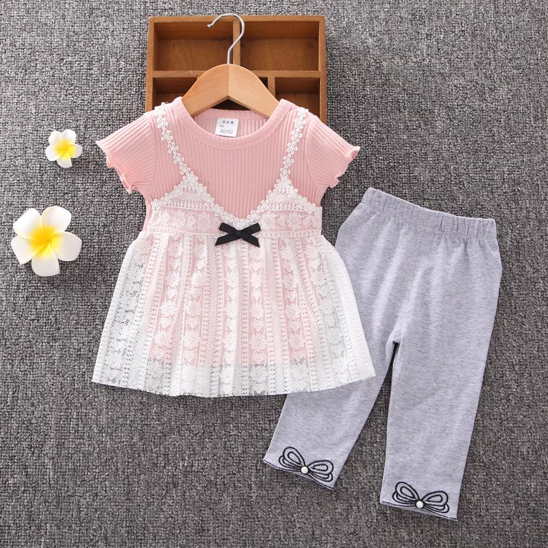 2-piece Lace T-shirt & Pants for Toddler Girl Wholesale Children's Clothing