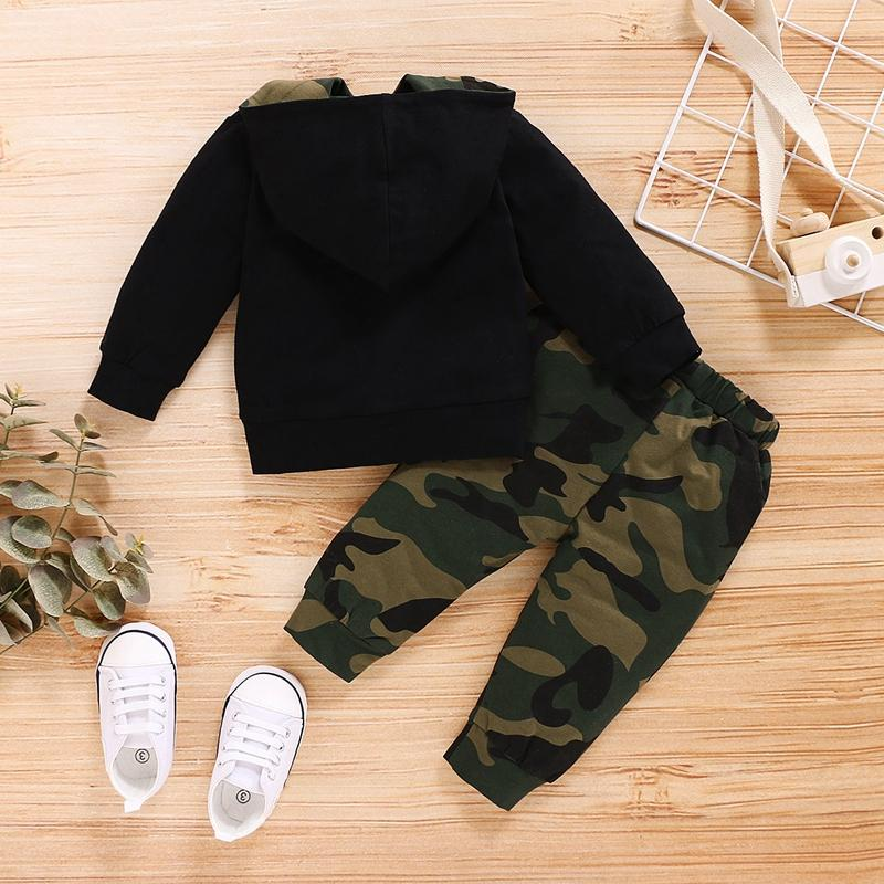 2-piece Letter Pattern Hoodie & Camouflage Pants for Baby Boy Wholesale children's clothing