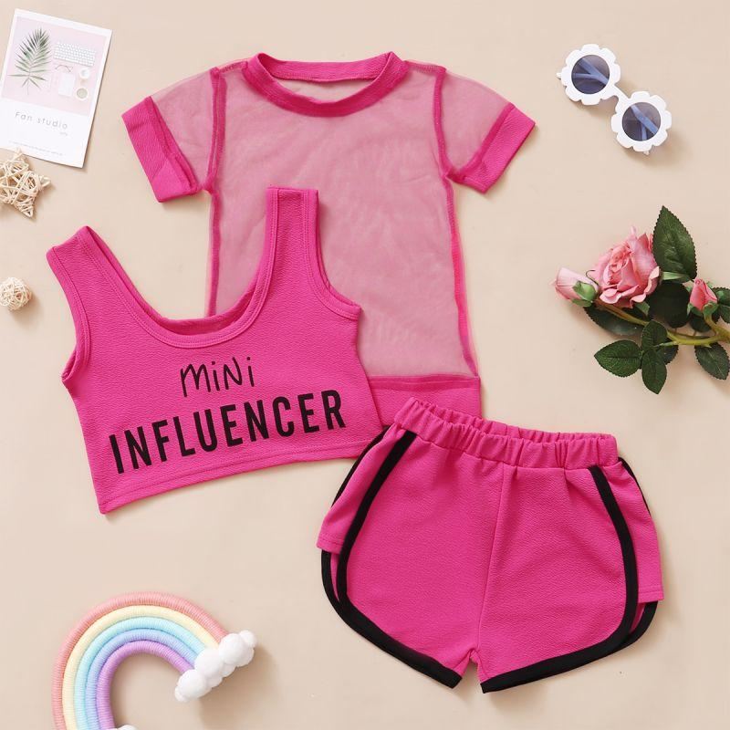 Toddler Girl Three-piece Sporty Mesh T-shirt & Tank Top & Shorts Wholesale Children's Clothing
