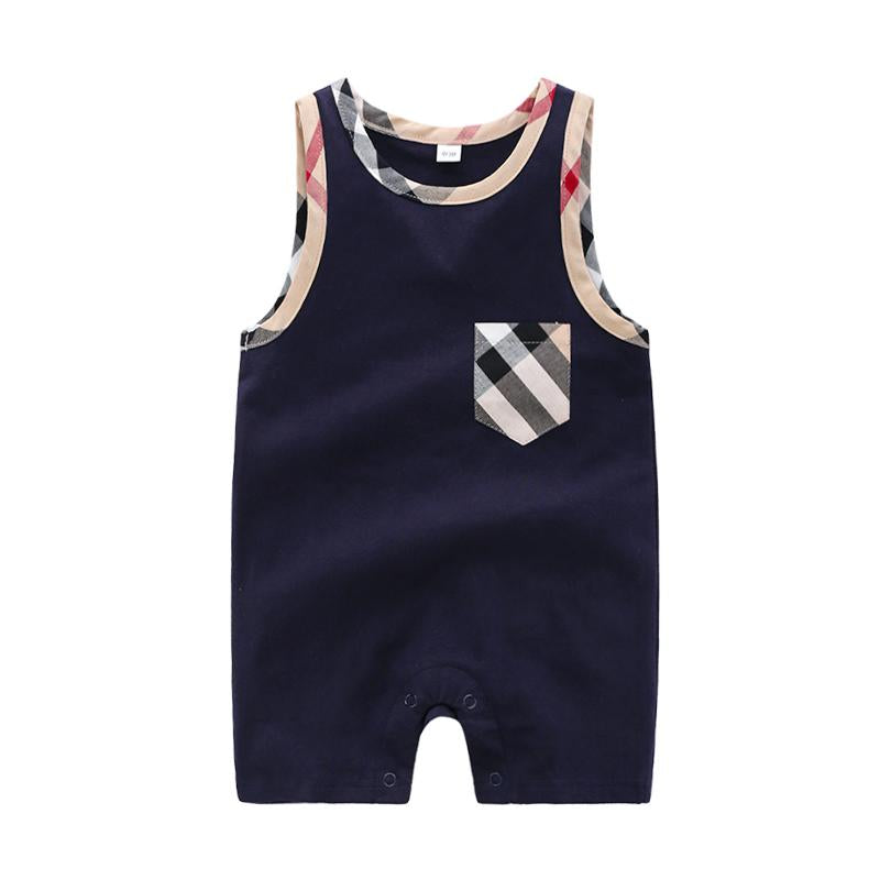 Plaid Sleeveless Bodysuit for Baby Children's clothing wholesale