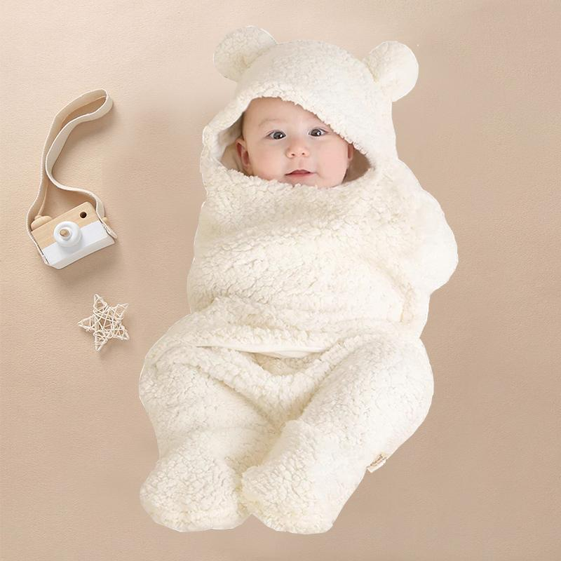 Casual Solid Hooded Fleece-lined Swaddle - PrettyKid