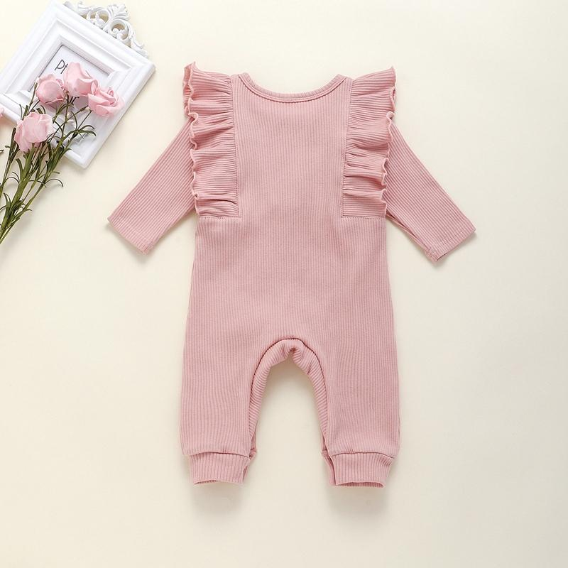 Solid Ruffle Jumpsuit for Baby Girl Wholesale children's clothing