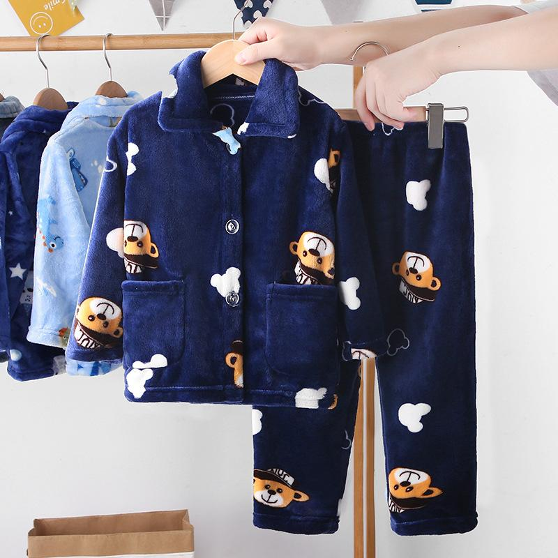 2-piece Extra Thick Flannel Pajamas Sets for Toddler Boy Wholesale children's clothing