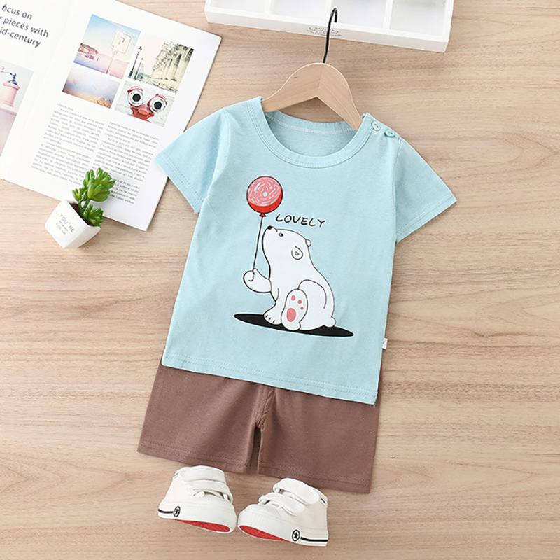 2pcs Fashion Bear Print T-shirt and Pants - PrettyKid