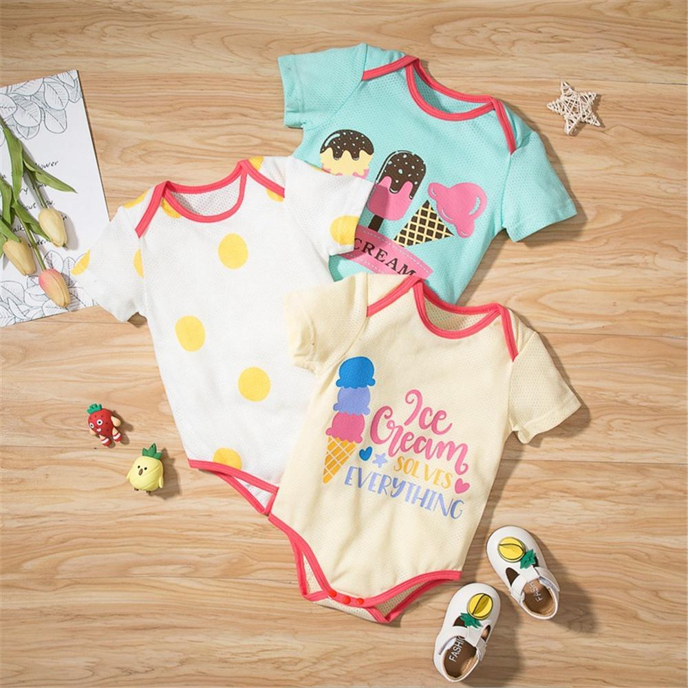 Baby Girls 3CPS Ice Cream Letter Polka Dot Printed Rompers Sets little boy wholesale clothing - PrettyKid