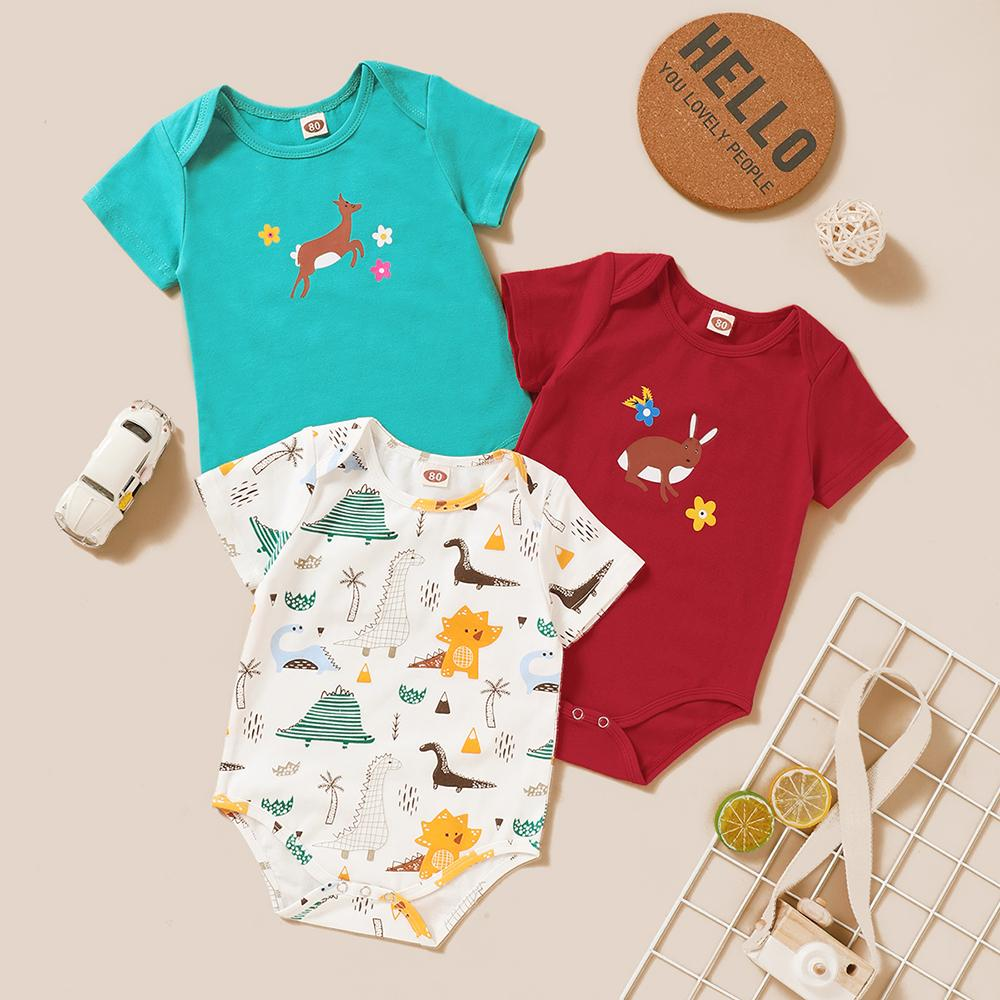 Baby Unisex 3PCS Animal Printed Summer Short Sleeve Rompers Baby Clothes Suppliers - PrettyKid