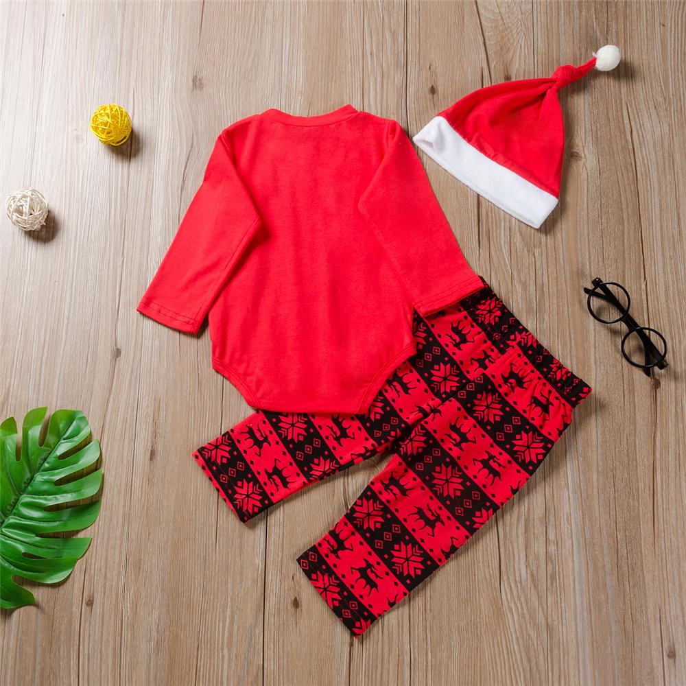Baby Boys 3PCS Christmas Printed Long Sleeve Sets Baby Outfits