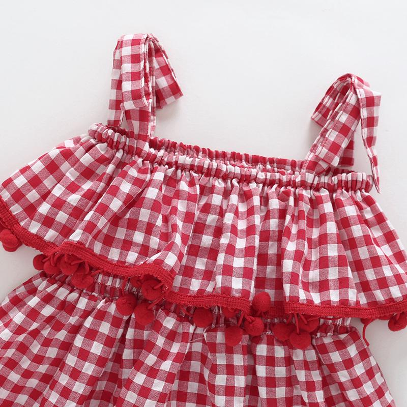 Summer Girls' Middle And Small Children's Suspender Plaid Ruffle Dress