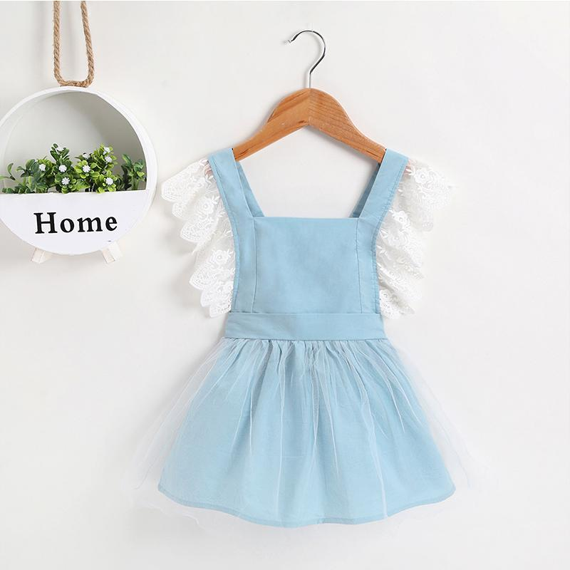 New Summer Girls' Suspender Lace Splice Mesh Dress