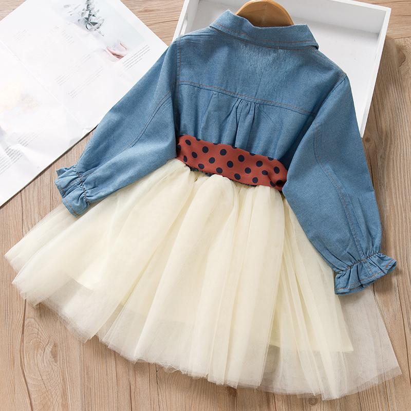Fashion Denim Stitching Mesh Dress for Toddler Girl Wholesale children's clothing