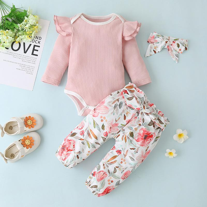 3-piece Romper & Headband & Floral Pants for Baby Girl - PrettyKid