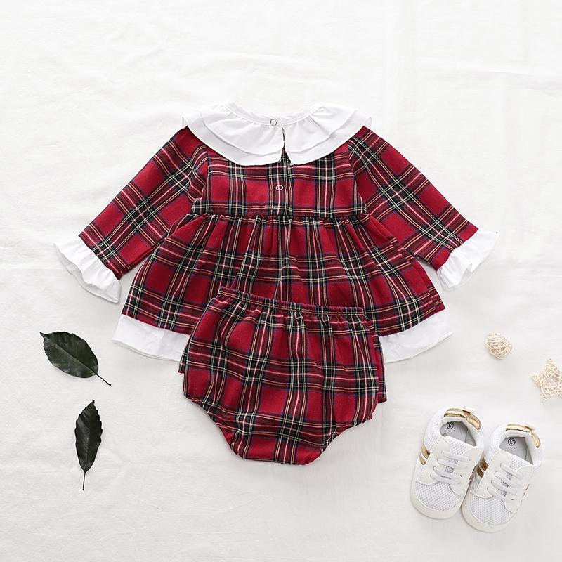 2-piece Plaid Dress & Shorts for Baby Girl Wholesale children's clothing