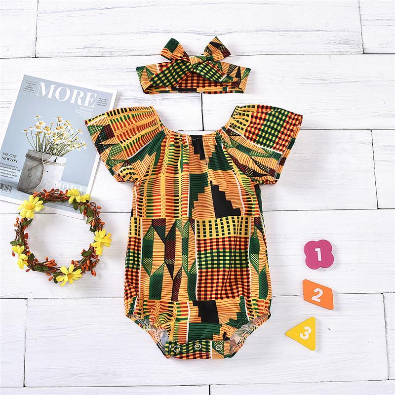 2-piece Geometric Pattern Bodysuit & Headband for Baby Girl - PrettyKid