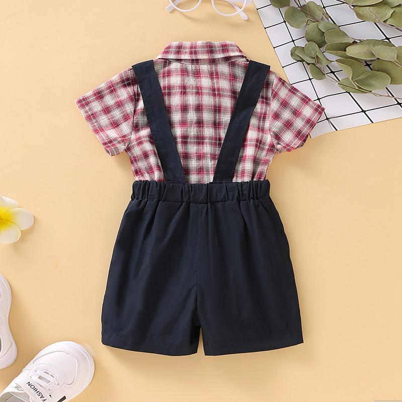 2-Piece Plaid Bownot Decoration Babysuit and Overalls - PrettyKid