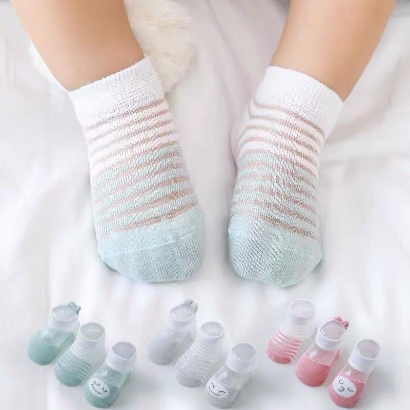 3 Pairs Of Baby Summer Ultra-thin Mesh Breathable Ice Silk Boat Socks Children Socks - PrettyKid