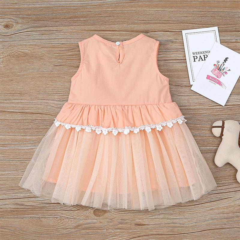 Flamingos Pattern Mesh Dress for Baby Girl Wholesale children's clothing
