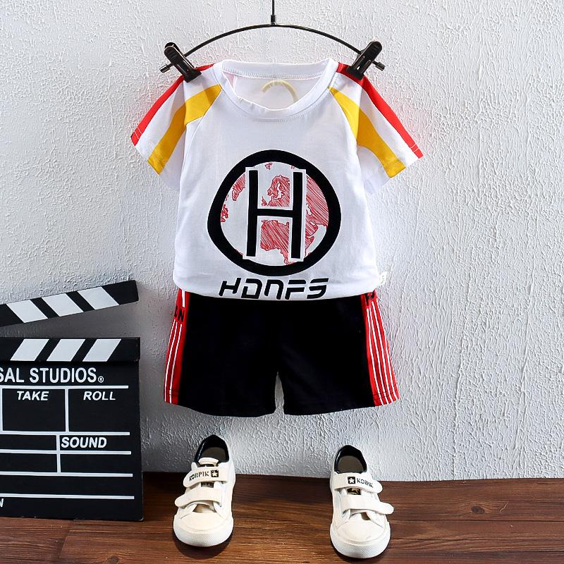 2pcs Fashion Color-block Creative Print T-shirt and Pants Wholesale children's clothing