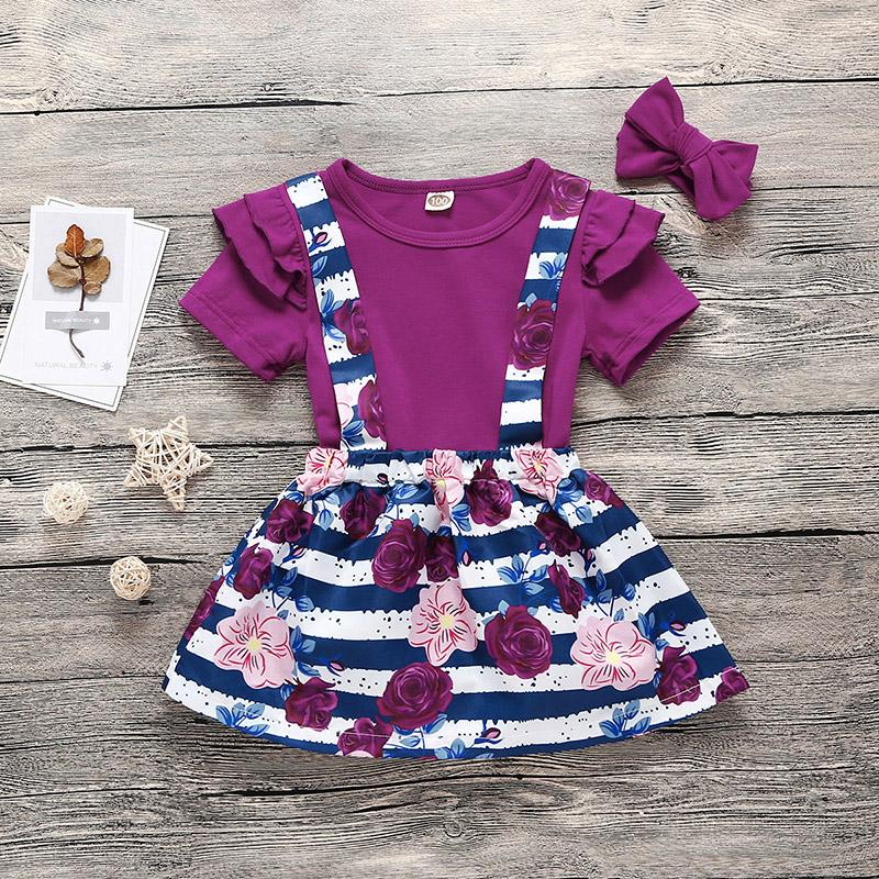 3-piece Solid Ruffle Bodysuit & Floral Printed Braces Skirt & Headband for Toddler Girl Wholesale children's clothing - PrettyKid