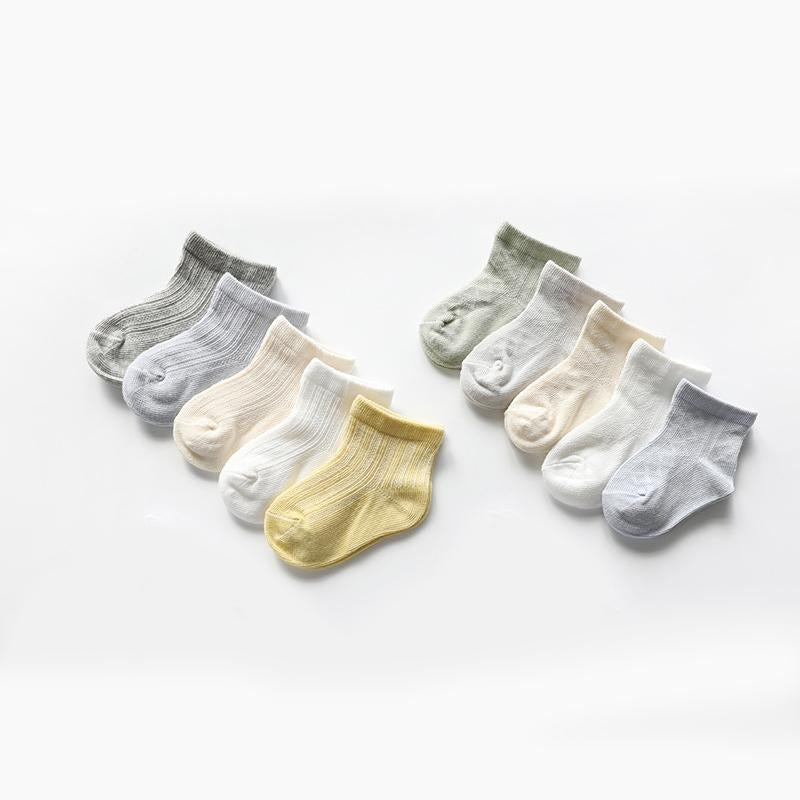 5 pairs Solid color Socks mesh Socks ventilation