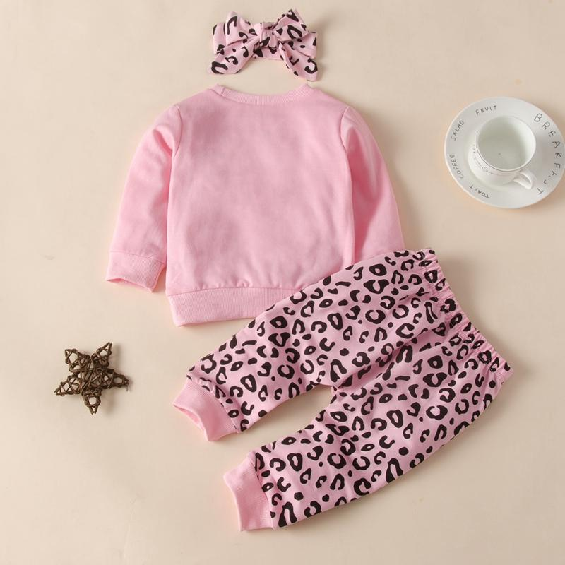3-piece Leopard Headband & Sweatshirt & Leopard Pants for Baby Girl Wholesale children's clothing