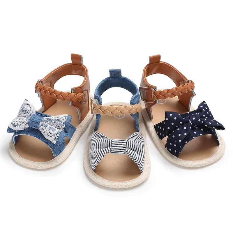Bow Decor Canvas sandals for Baby Girl Children's clothing wholesale - PrettyKid