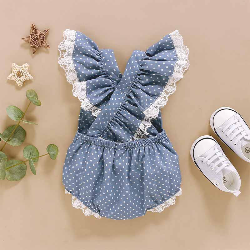 Lace Polka Dot Bodysuit for Baby Girl Wholesale children's clothing