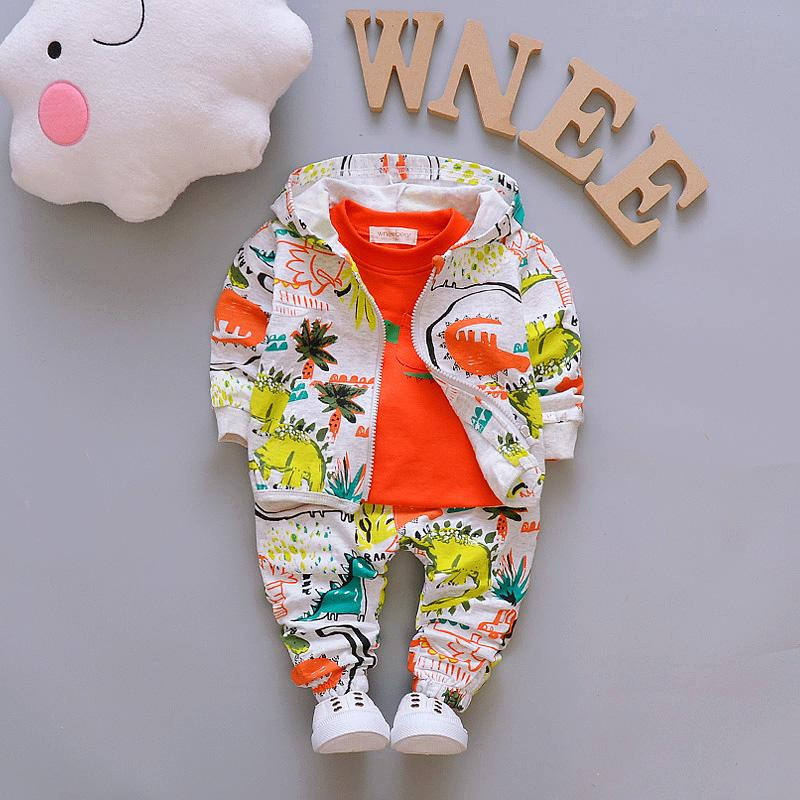 3-piece Floral Printed Hooded Coat & Sweatshirts & Pants for Children Boy - PrettyKid