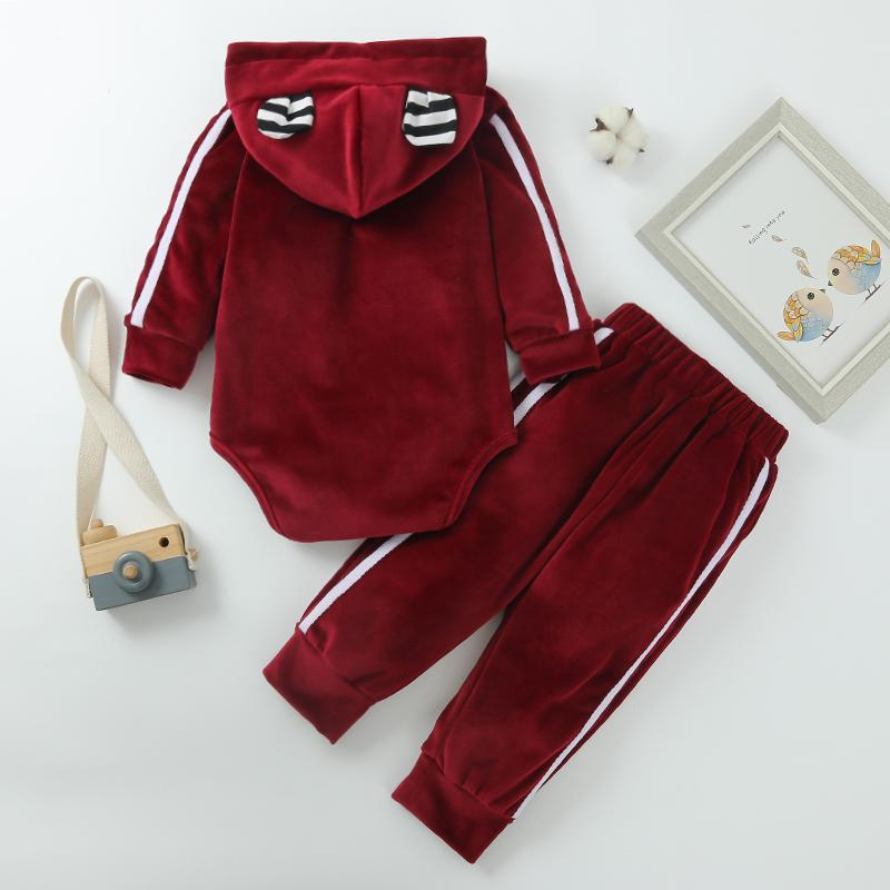 2-piece Velet Hooded Romper & Pants for Baby Boy Wholesale children's clothing