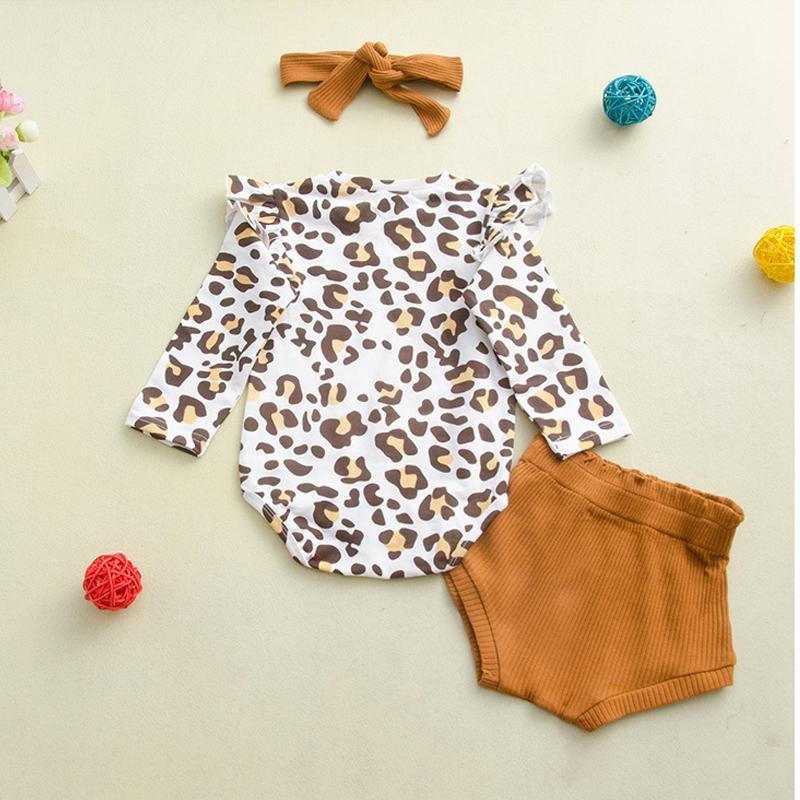3pcs Fashion Chlorofibre Falbala Babysuits Short Pants and Hair Band Wholesale children's clothing