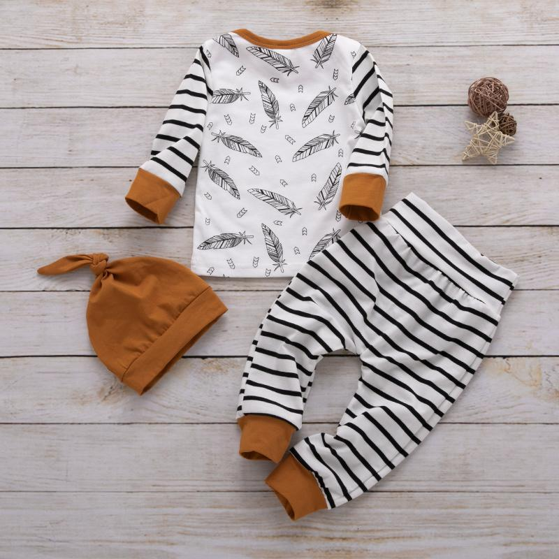 3-piece Feather Stripe Tee, Pants and Hat Set Children's clothing wholesale - PrettyKid