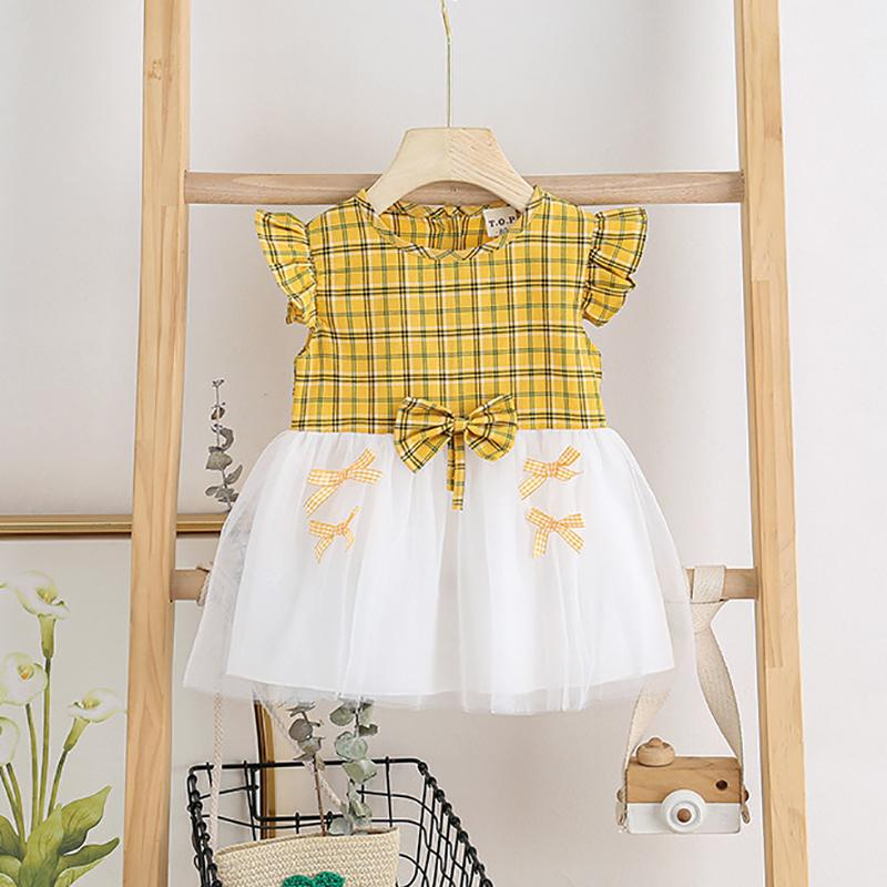 Fashion Mesh Plaid Dress Wholesale children's clothing - PrettyKid