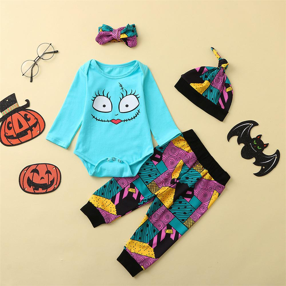 Baby Unisex 4PCS Printed Long Sleeve Romper Halloween Sets Wholesale - PrettyKid