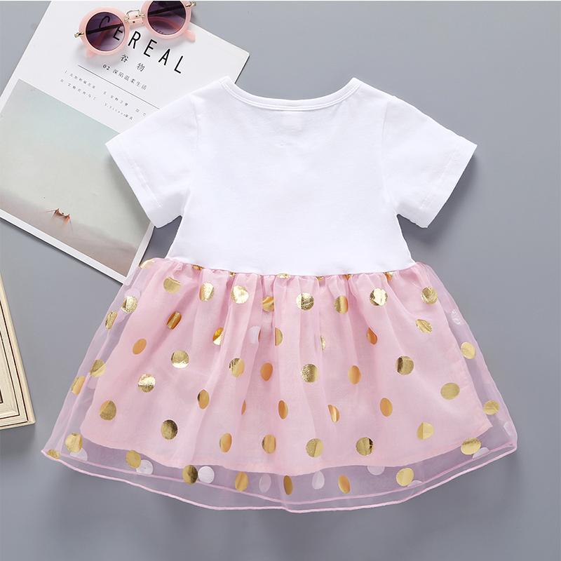Summer Baby Girl Short Sleeve Bow Cartoon Print Tulle Dress