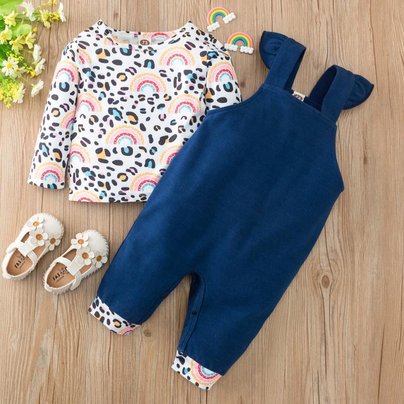 2-piece Rainbow Pattern Long-sleeve & Bib Pants for Baby Girl Wholesale children's clothing