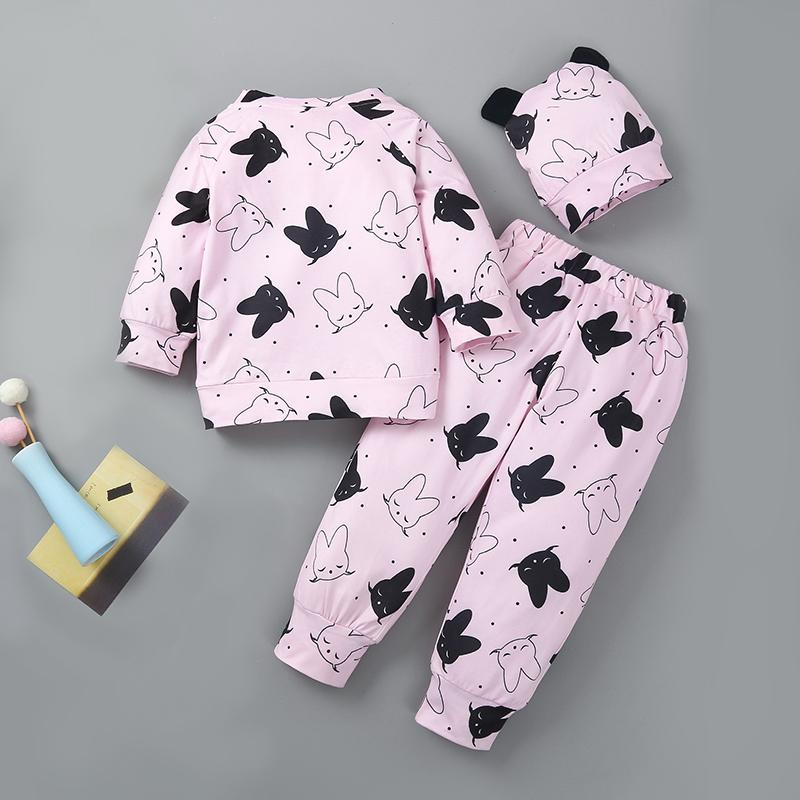 3-piece Hat & Sweatshirt & Pants for Baby Girl Wholesale children's clothing