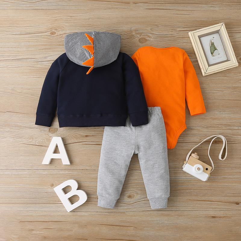 3-piece Solid Bodysuit & Hooded Striped Coat & Pants for Baby Boy Wholesale children's clothing