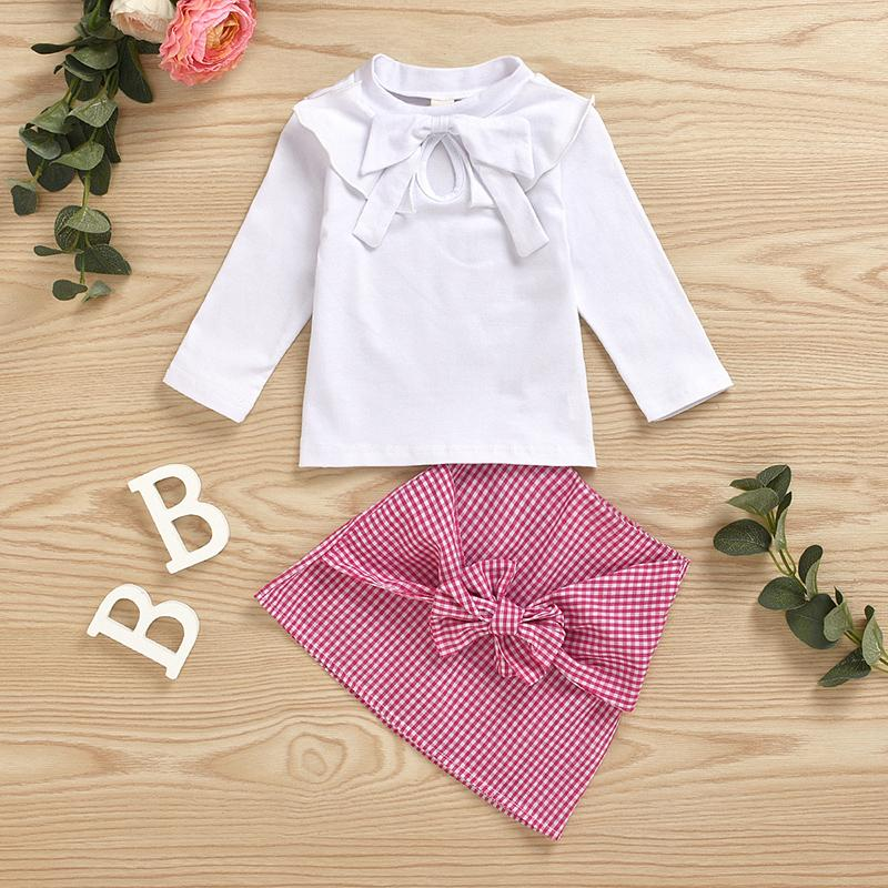 2-piece Bowknot Dress Set for Toddler Girl Wholesale children's clothing