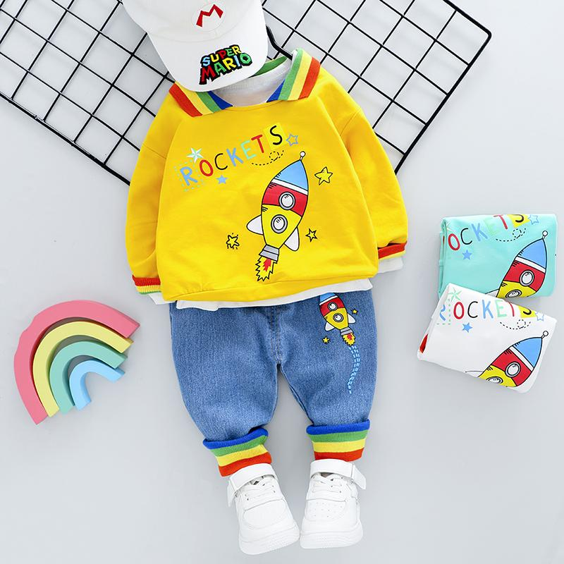 2-piece Fashion Cute Rockets  Print Color-block Hoodies and Jeans Wholesale children's clothing