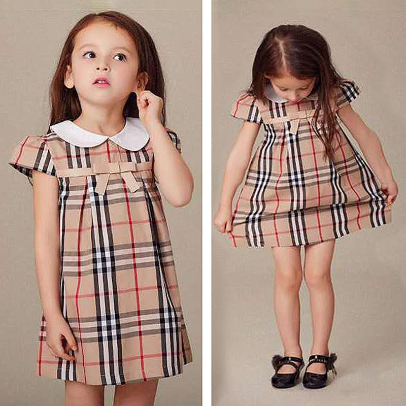 Lapel Collar Plaid Dress for Toddler Girl Wholesale children's clothing