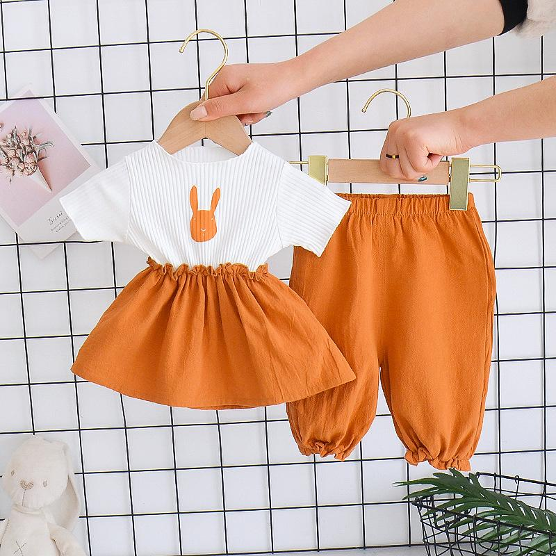 2-piece Rabbit Pattern T-shirt & Pants for Toddler Girl Wholesale Children's Clothing
