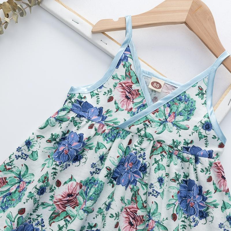 Sling Floral Printed Dress for Toddler Girl Wholesale children's clothing