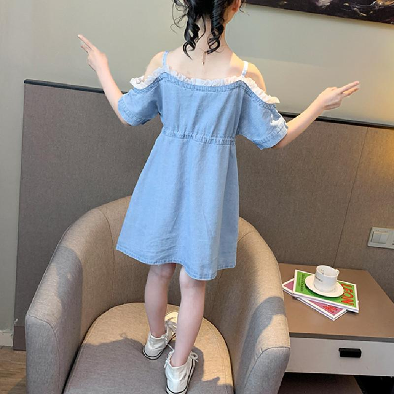 Sling Denim Dress for Girl Wholesale children's clothing