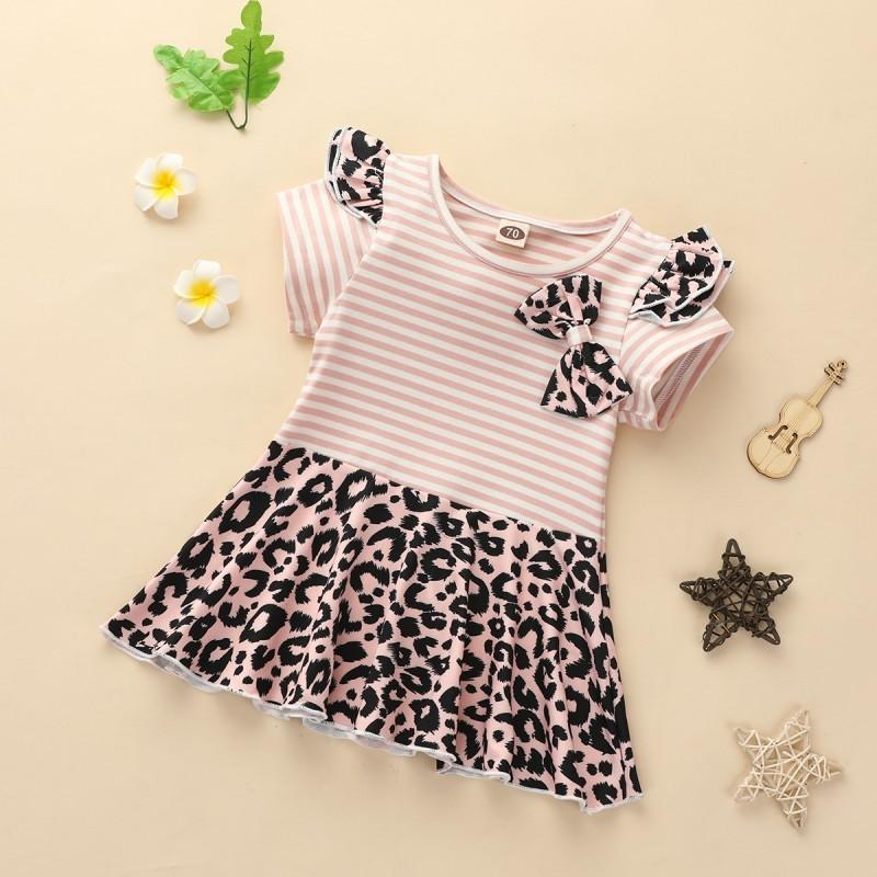 Leopard Pattern Striped Dress for Baby Girl Wholesale children's clothing