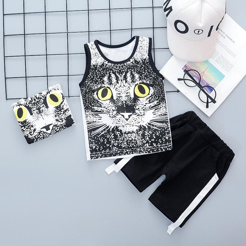 Animal Printed Tank Top and Stripe Shorts Set(No Accessories) Wholesale children's clothing - PrettyKid